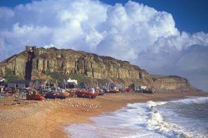 Hastings beach at tide